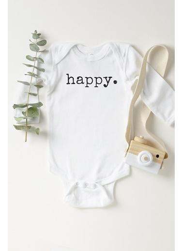 Happy Onesie Co Happy Uzun Kollu Çıtçıtlı Body  Beyaz